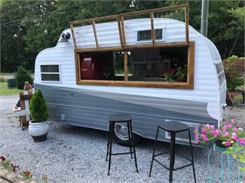 Atomic Rocket Vintage vendor camper trailer, mobile coffee shops, pop up shops, Shasta style!