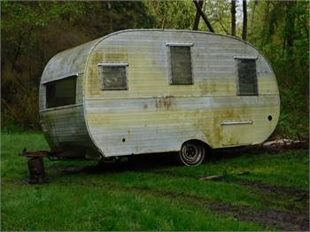Vintage trailer in the raw