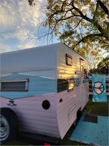 Pretty in pink vintage Manorette 💗 she shed pop up shop rental photo prop