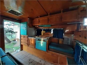 1960s slide in pick-up truck camper. Teardrop brand, original blonde interior & blue appliances